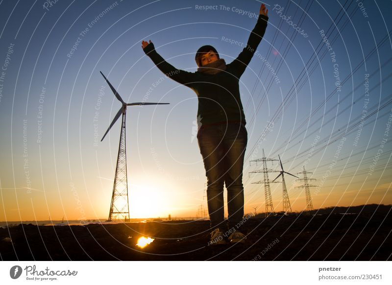 wind power Technology Energy industry Renewable energy Solar Power Energy crisis Human being Young woman Youth (Young adults) Arm 1 Environment Nature Sunrise