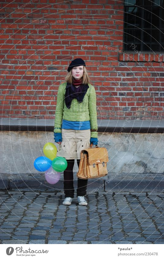 But where should we go? Lifestyle Young woman Youth (Young adults) 1 Human being 18 - 30 years Adults Train station Fashion Skirt Leather bag Cap Balloon Brick