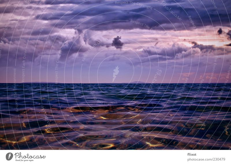 Nature Water Ocean Summer Clouds Coast Surrealism Surface of water Bad weather Storm clouds Dream world