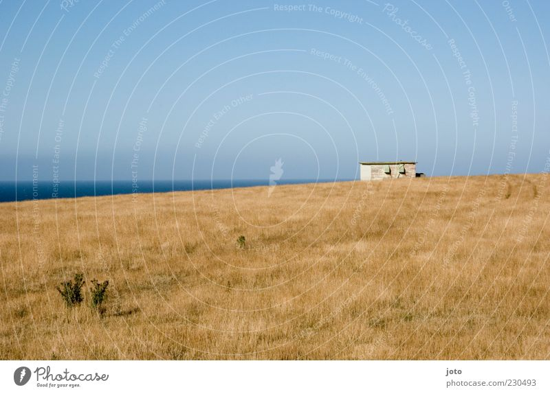 Sky Nature Old Vacation & Travel Ocean Summer Calm Loneliness House (Residential Structure) Far-off places Meadow Landscape Freedom Lanes & trails Horizon Hill