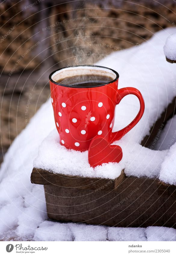 red ceramic cup with hot black coffee Breakfast To have a coffee Beverage Coffee Cup Winter Snow Valentine's Day Christmas & Advent New Year's Eve Landscape