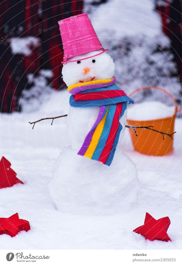 snowman with a bucket Nature Christmas & Advent White Red Joy Winter Snow Smiling Cute Symbols and metaphors Frost Seasons Hat Snowflake Scarf Bucket