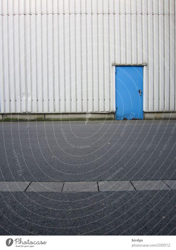 Blue door to the Maloche Factory Facade Door Warehouse Street Asphalt Simple Parallel Industrial site Contrast Front door Way out Colour photo Exterior shot