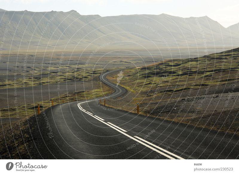 expectation Environment Nature Landscape Fog Mountain Canyon Transport Street Lanes & trails Loneliness Uniqueness Freedom Target Iceland Asphalt Curve