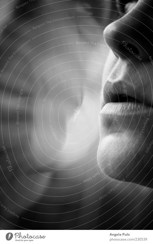 breath Feminine Woman Adults Mouth Lips 1 Human being Emotions Longing Black & white photo Close-up Light Shadow Reflection Half-profile Woman`s mouth Breathe