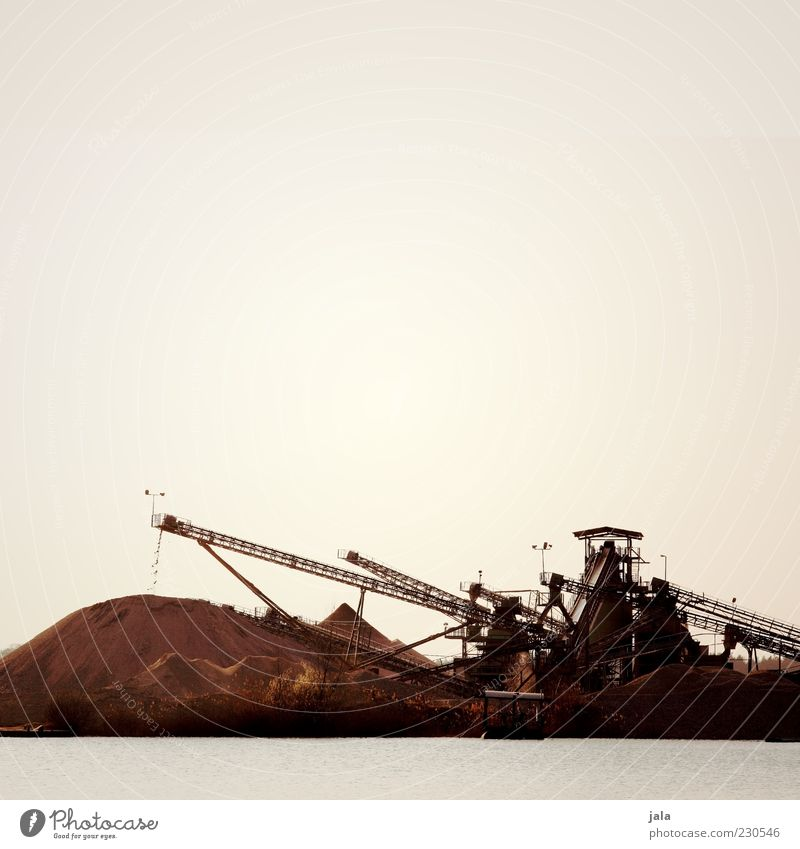 gravel plant Industry Sky Lake Gloomy Colour photo Exterior shot Deserted Copy Space top Neutral Background Day Twilight Back-light Excavator