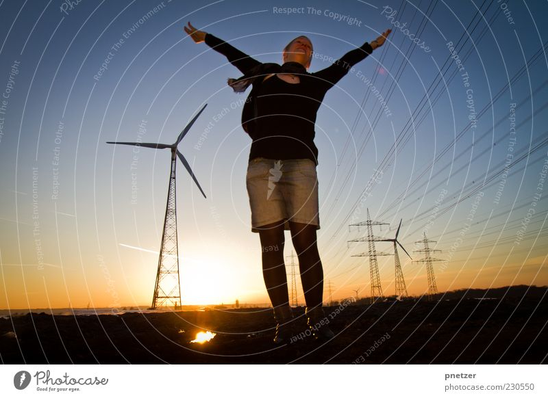 Human being Woman Sky Youth (Young adults) Summer Adults Environment Landscape Wind Field Arm Flying Energy industry Climate Electricity Stand