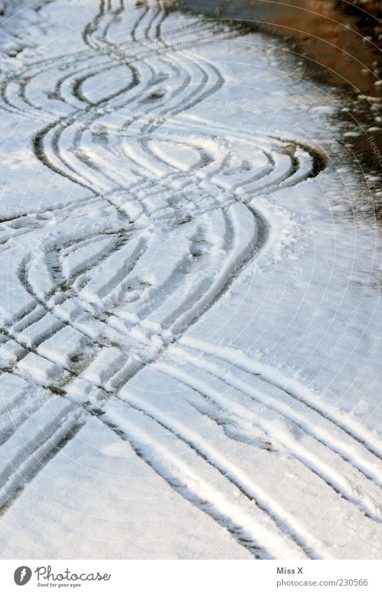 booze Bad weather Ice Frost Snow Street Lanes & trails Cold Tracks Undulation Colour photo Exterior shot Pattern Deserted Snow track Curve