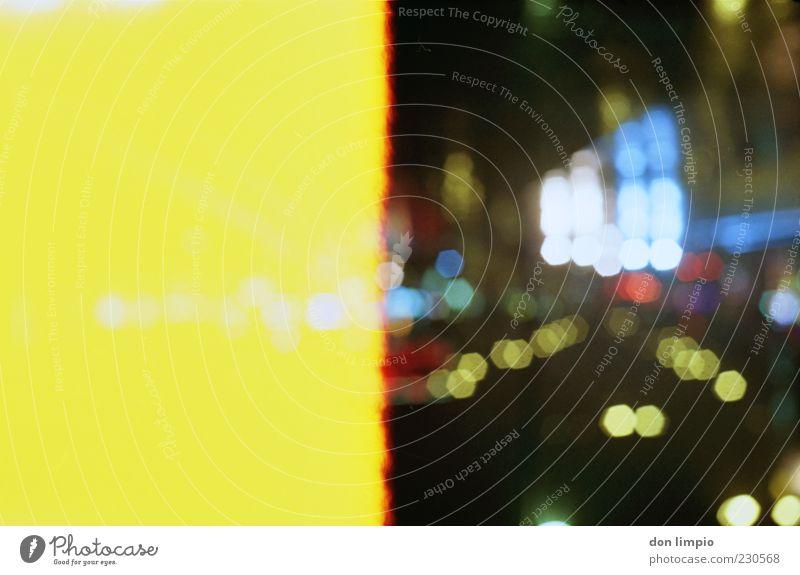 Yellow Street Glittering Transport Illuminate Analog Surrealism Multicoloured Hamburg Light Reflection Night life Point of light Populated Back-light Light leak