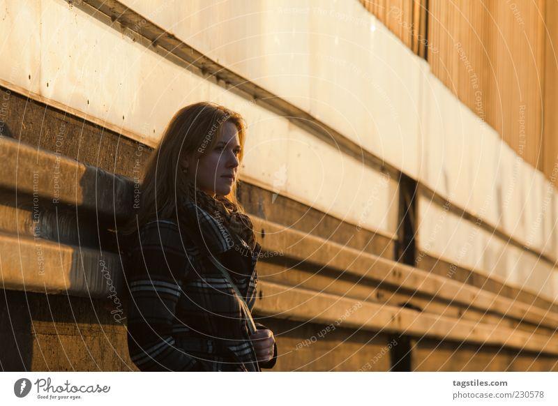 Woman Sun Autumn Wall (building) Warmth Sadness Think Orange Change Meditative Goodbye Long-haired New start Lean Vanishing point