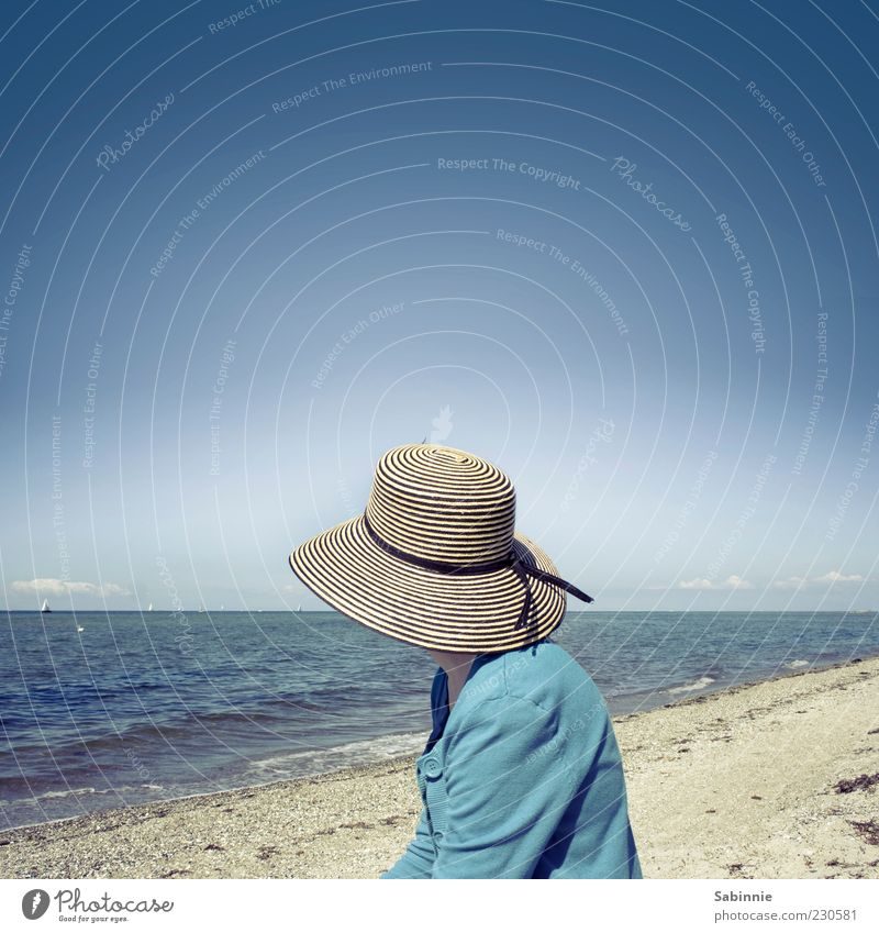 *50* - View into the distance Human being Woman Adults 1 Nature Weather Beautiful weather Waves Coast Lakeside Beach Ocean Baltic Sea Kieler Förde Sand Water