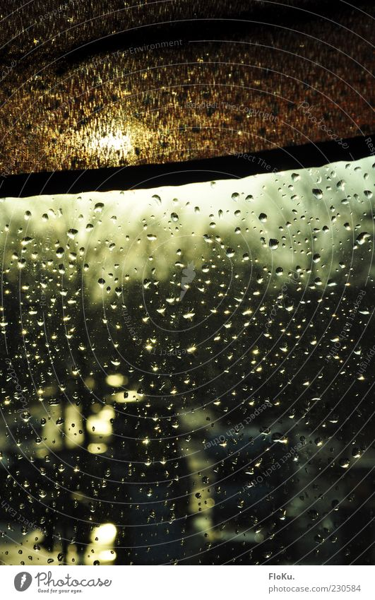 After the rain... Sun Sunrise Sunset Sunlight Rain Window Glittering Wet Brown Window pane Drops of water Roller blind Glass Cloth Colour photo Deserted Evening