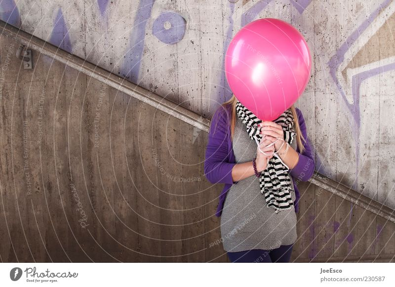 Human being Youth (Young adults) Beautiful Joy Adults Feminine Life Graffiti Style Leisure and hobbies Pink Concrete Crazy Cool (slang) Balloon Uniqueness
