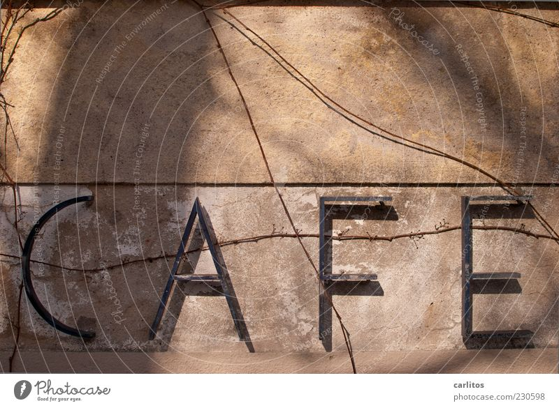 There's always time for a good cup of coffee. Old Café Typography Metal Letters (alphabet) Plaster Brown Tendril Shadow Sunlight Signs and labeling Signage
