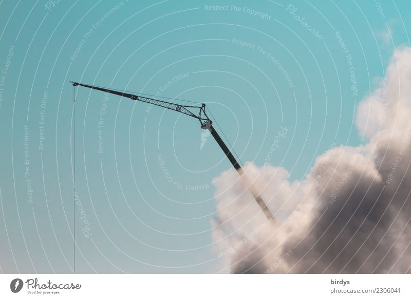 sustainable? Construction site Construction crane Sky Clouds Beautiful weather Work and employment Smoking Exceptional Threat Tall Blue Gray Black Determination