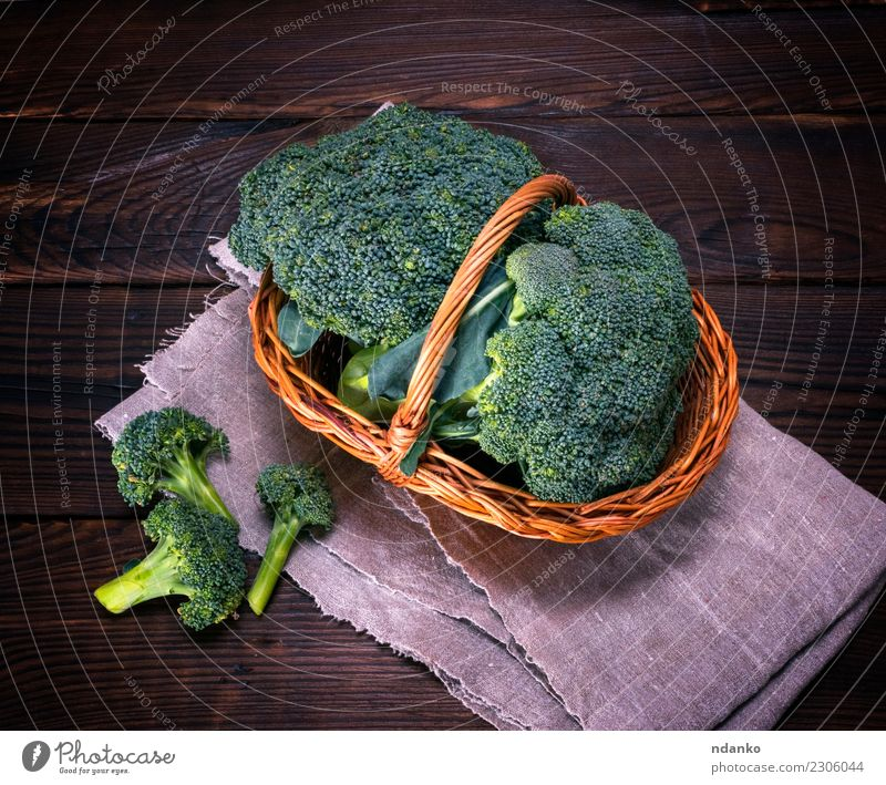raw green cabbage broccoli Vegetable Nutrition Eating Vegetarian diet Diet Table Nature Plant Wood Fresh Natural Brown Green Rustic Ingredients Cooking dieting
