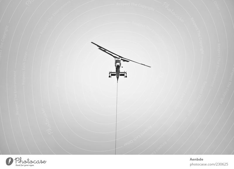 you&me Cable Aviation Sky Means of transport Helicopter Rescue helicopter Hang Carrying Throw Aggression Exceptional Black Silver White Willpower Effort