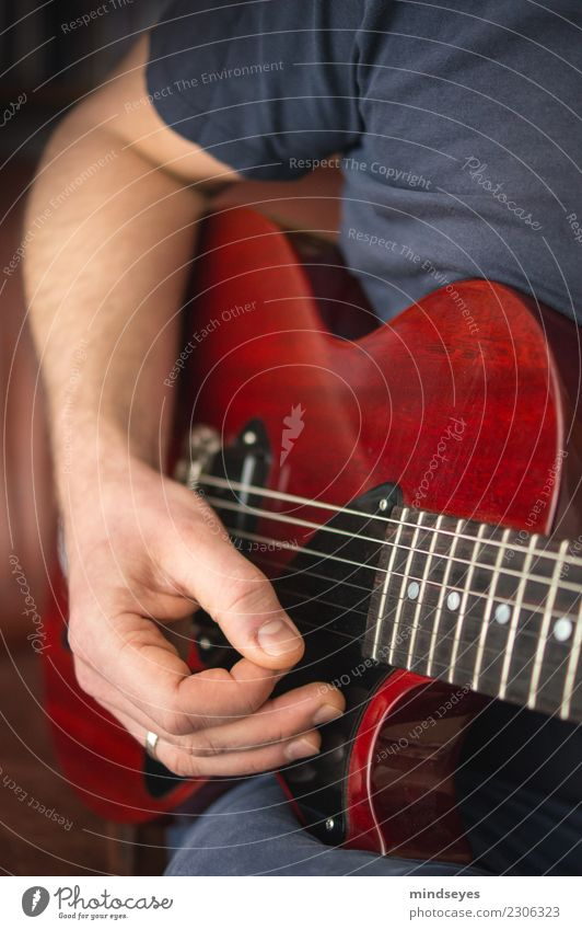 guitar hero Human being Man Adults Hand 1 30 - 45 years Music Guitar Glittering Blue Red Passion Leisure and hobbies Serene Creativity Musician