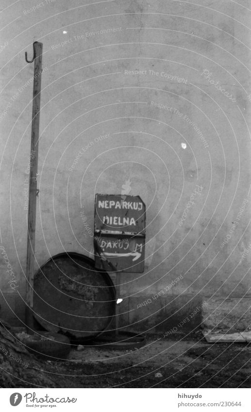 this way! Bratislava Deserted Wood Metal Sign Characters Signs and labeling Transience Black & white photo Exterior shot Close-up Structures and shapes