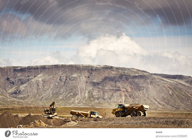 At the excavator hole Work and employment Construction site Earth Sky Clouds Beautiful weather Mountain Transport Vehicle Truck Authentic Advancement Change