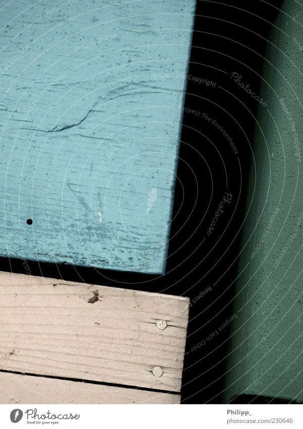 From another time... Box Wood Sharp-edged Simple Blue Green Colour Old Crate Nail Wood grain Black Colour photo Exterior shot Detail Copy Space left