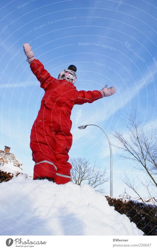Human being Child Sky Red Winter Snow Playing Freedom Movement Bright Contentment Adventure Happiness Success Stand Clothing