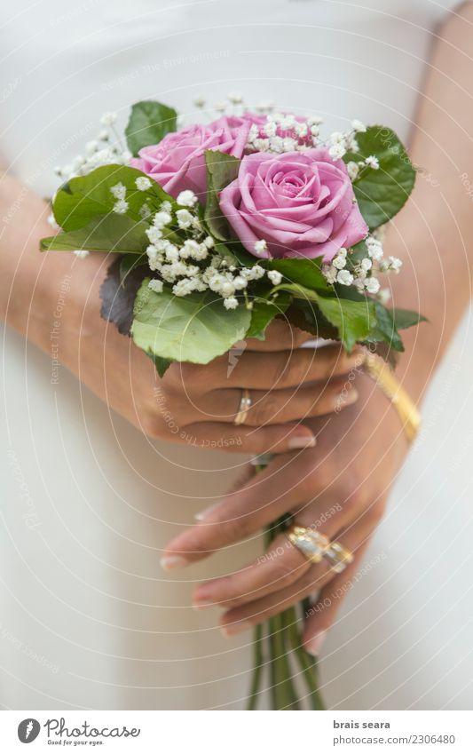 woman holding a wedding bouquet Lifestyle Elegant Style Design Beautiful Body Manicure Event Feasts & Celebrations Wedding Feminine Woman Hand Fingers Flower
