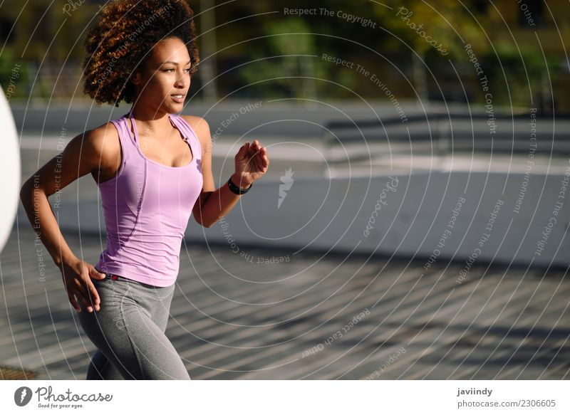 Black woman, afro hairstyle, running outdoors Woman Human being Youth (Young adults) Young woman 18 - 30 years Adults Street Lifestyle Sports
