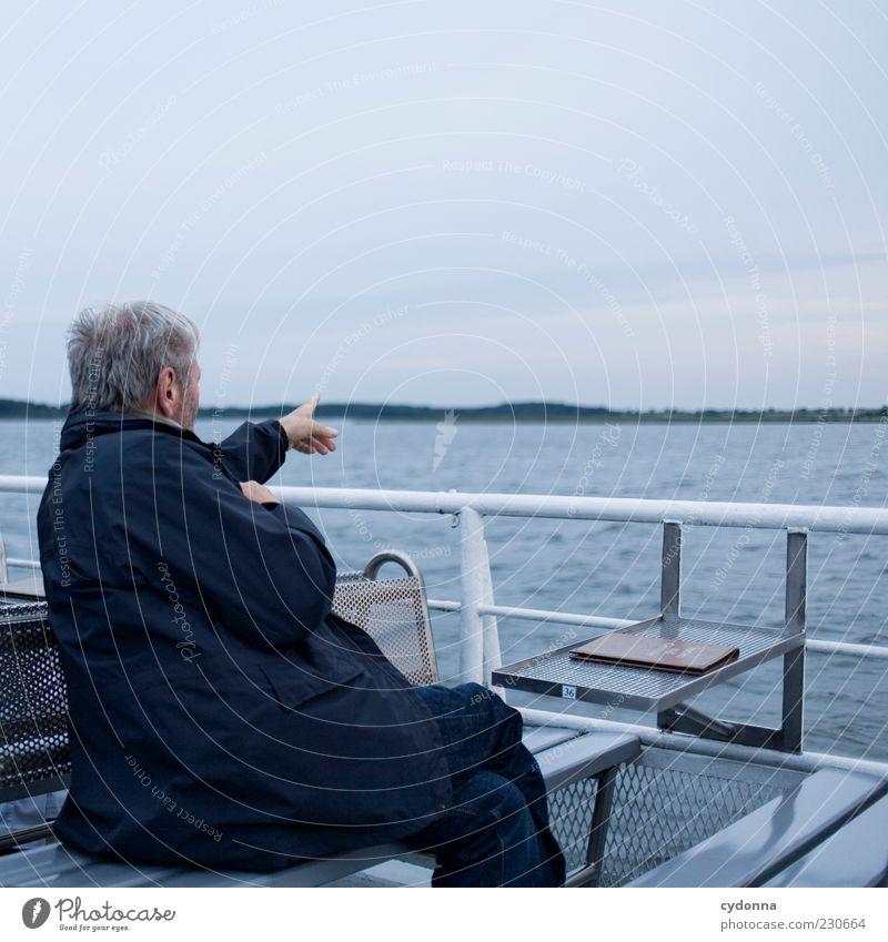 Human being Sky Man Nature Water Vacation & Travel Calm Adults Far-off places Environment Life Senior citizen Lake Horizon Sit Trip