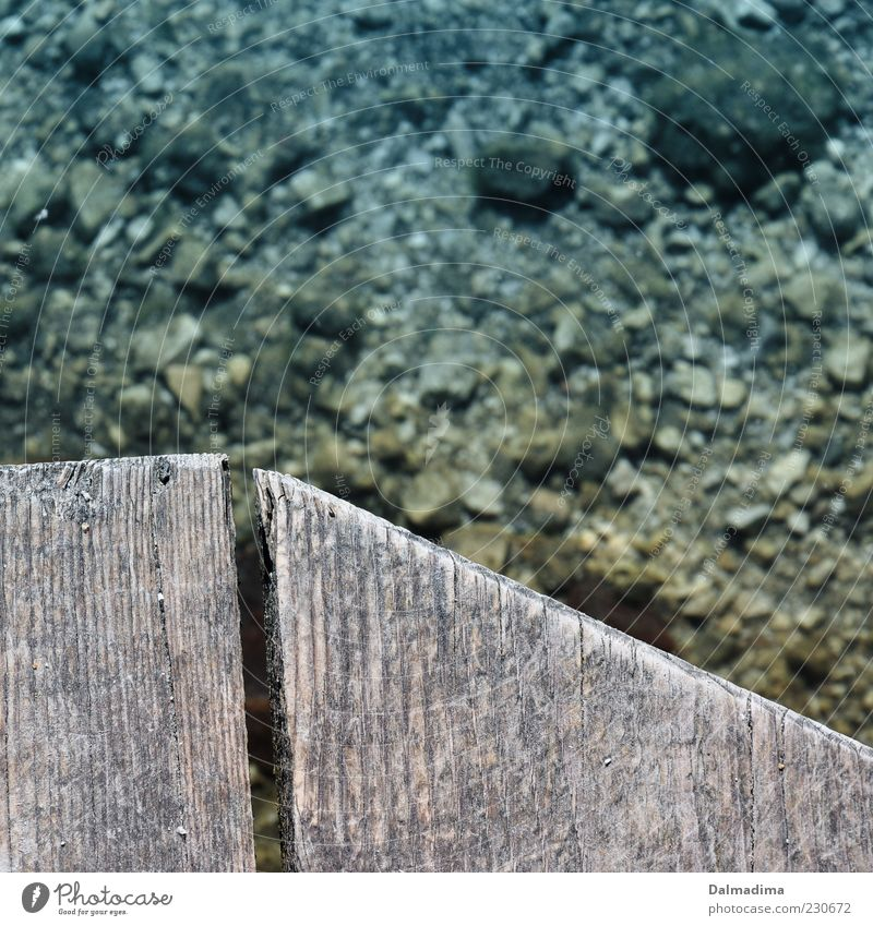 Still Water Environment Nature Wood Wooden board Climate Lake Stone Pattern Point Deserted Colour photo Exterior shot Structures and shapes Copy Space right