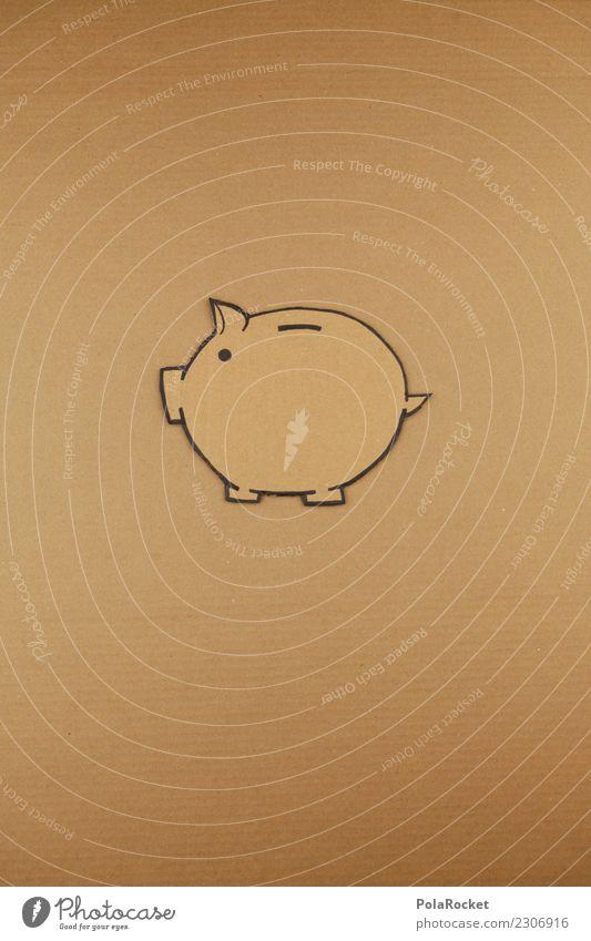 # A # Poor pig! Art Work of art Esthetic Swine Swinishness Money box Save Creativity Home-made Cardboard Brown Empty Vacancy Yellow Capital investment