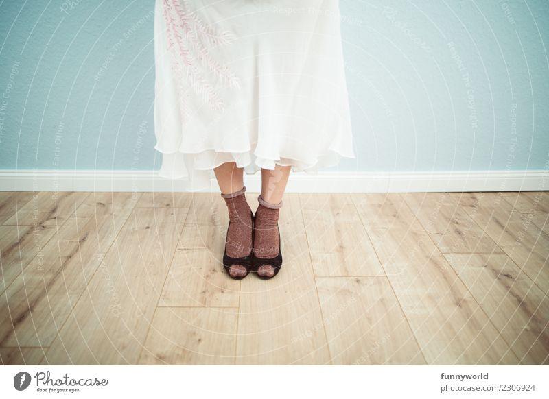Nice socks Feminine Legs Feet 1 Human being Fashion Clothing Skirt Dress Stockings Stand High heels Eroticism Delicate Bride Wedding dress Wooden floor