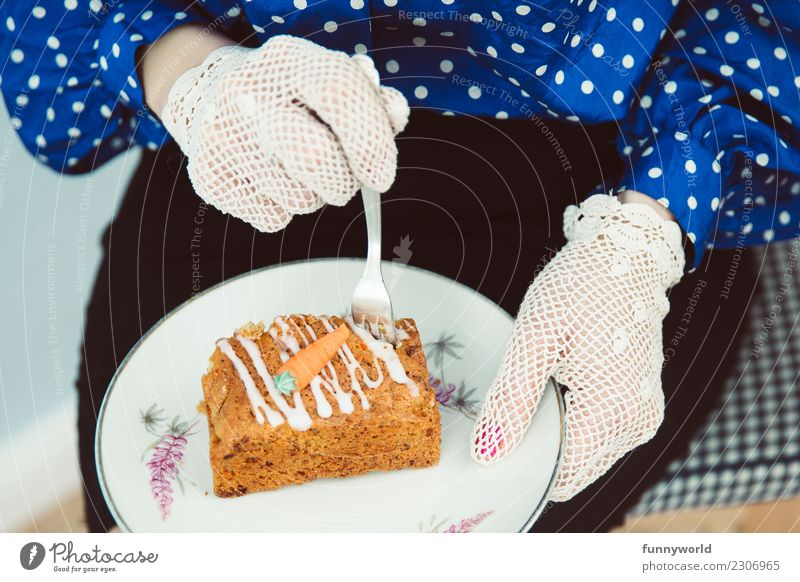 Even more carrot cake! Human being Feminine Woman Adults Hand 1 Eating Food Dough Baked goods Cake Carrot Skirt Blouse Lace Gloves Relaxation Delicious Break