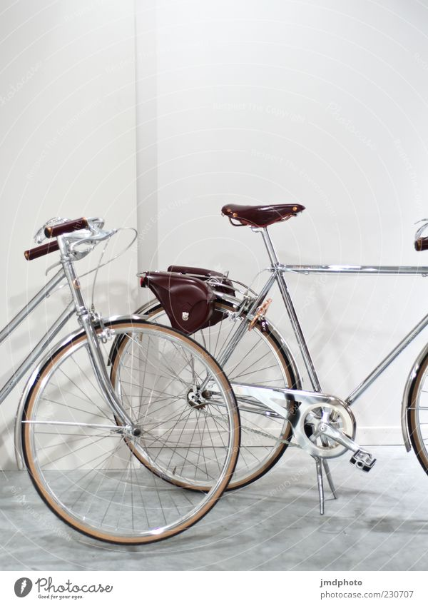 bicycles Lifestyle Style Design Bicycle Driving Bright Hip & trendy Cold Brown Gray White Effort Joy Symmetry Colour photo Interior shot Deserted Copy Space top