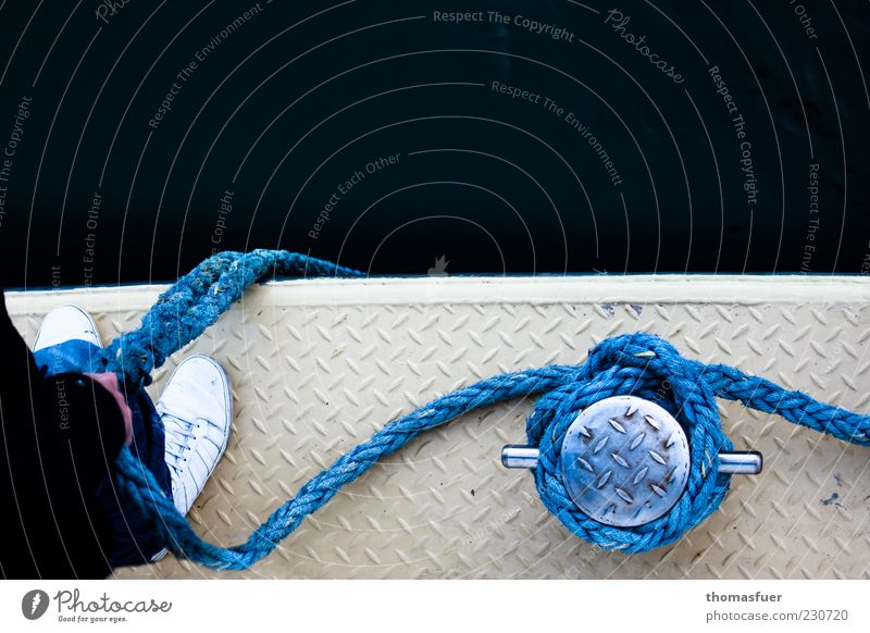 mooring lines Ocean Seaman Harbour Human being Masculine Man Adults Hand Feet 1 Navigation Passenger ship Ferry Watercraft Rope On board To hold on Stand Wait