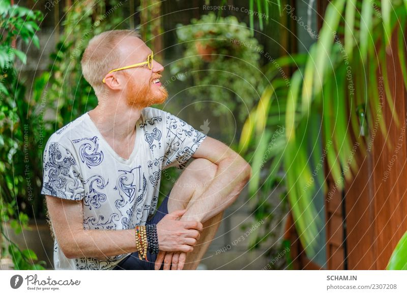Yoga teacher portrait. Red hair man with a red beard Lifestyle Relaxation Sports Adults Beard Sit Uniqueness Identity 45-49 years adults only beautiful people