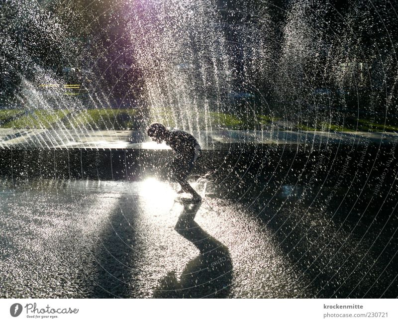 fountain jumper Joy Summer Masculine Child Infancy Youth (Young adults) 1 Human being 8 - 13 years Walking Playing Jump Green Well Fountain Inject Water