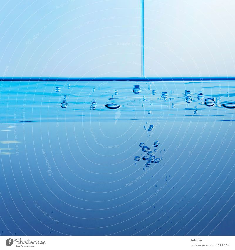 influence Drinking water Elements Water Drops of water Esthetic Fluid Under Blue Relaxation Inspiration Nature Gießen Air bubble Jet of water Interior shot