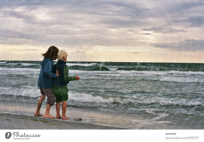 Human being Child Sky Water Sun Ocean Beach Joy Far-off places Life Playing Boy (child) Coast Friendship Infancy