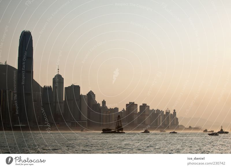 Water City Beautiful Far-off places Coast Building Moody Exceptional High-rise Might Threat Bank building Manmade structures Asia Skyline China
