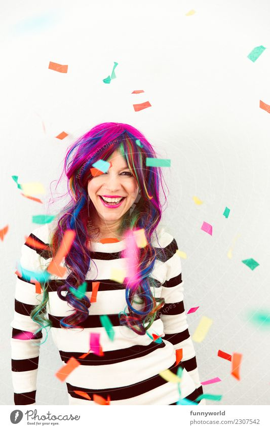 Colorful Jeck Human being Feminine Woman Adults 1 Laughter Crazy Joy Confetti Multicoloured To fall Carnival Wig Carnival fool Disguised Wild Exuberance