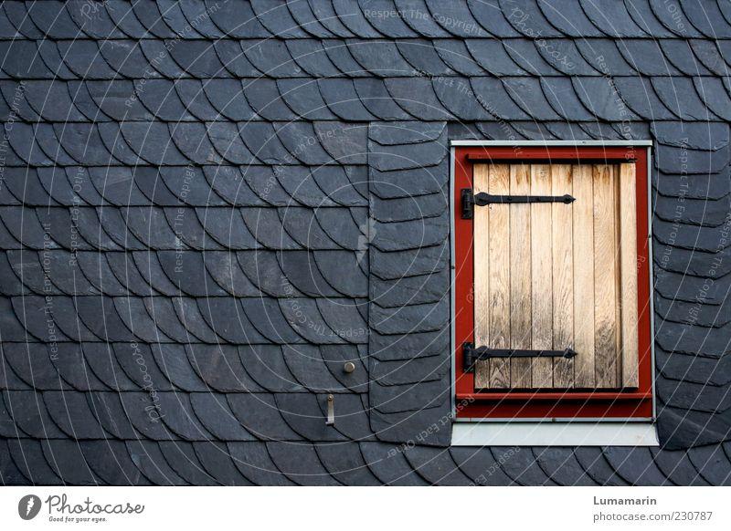 Shut up. House (Residential Structure) Wall (barrier) Wall (building) Facade Window Simple Gray Red Arrangement Calm Divide Environment Slate Wood Shutter