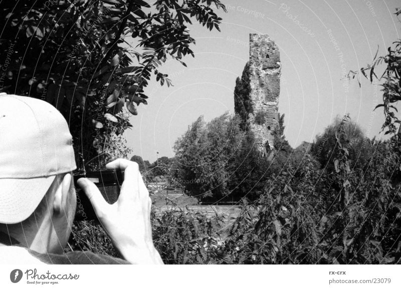 Photographer on the go Ruin Tree Black White Human being Camera Landscape