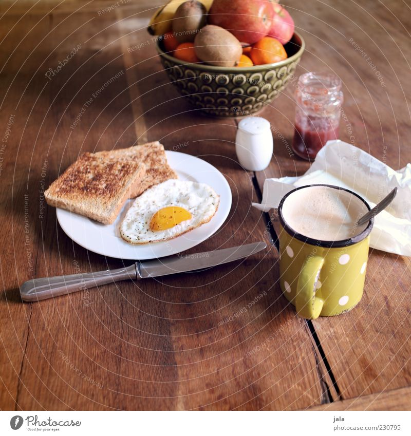 Breakfast is ready! Food Fruit Apple Orange Bread Jam Butter Cooking salt Nutrition Beverage Hot drink Coffee Crockery Plate Cup Knives Table Wood Healthy
