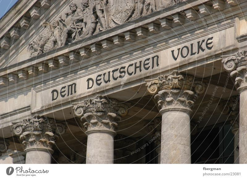 people Portal Dem deutschen Volke Architecture Berlin Reichstag Column Detail Wallot Houses of Parliament