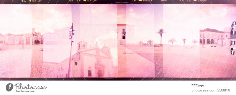 the south in panoramic vision. Lagos Pink Portugal South Algarve Holga Double exposure Panorama (Format) Palm tree Places Church Cross processing Architecture