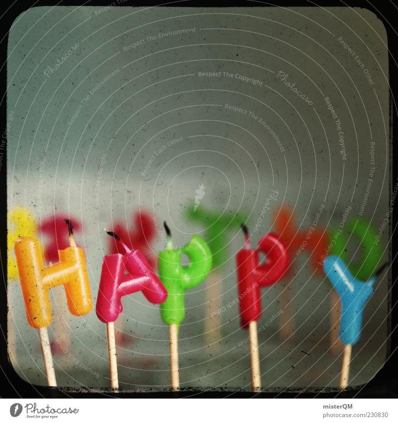 Feasts & Celebrations Birthday Retro Candle Snapshot Jubilee Decoration Happy Birthday Retro Colours Retro trash Birthday gift Birthday wish
