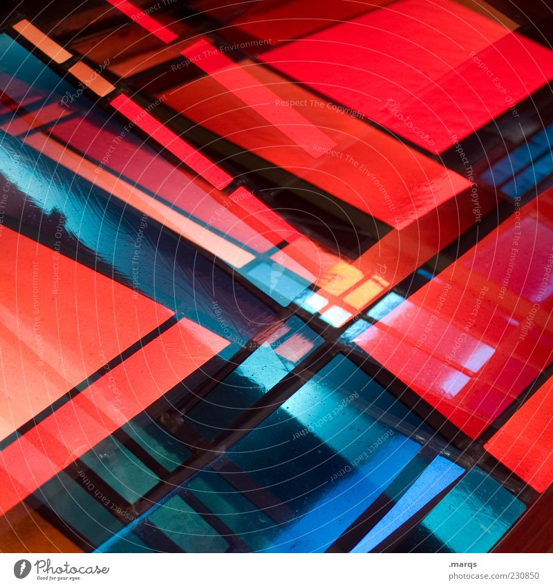Blue Red Colour Style Line Art Glass Design Modern Exceptional Crazy Decoration Illuminate Lifestyle Uniqueness Chaos