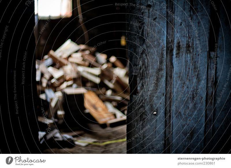 Cellar Door II Old Wood Wooden door Cellar door Dark Evening Low-key Shallow depth of field Firewood Stack Building Deserted Open Heap