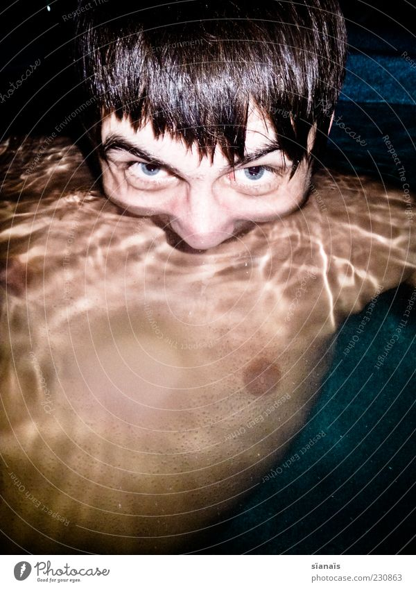 Human being Youth (Young adults) Face Head Swimming & Bathing Young man Masculine Crazy Creepy Whimsical Trashy Bizarre Surface of water Disgust Grimace Chest